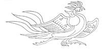 矢量古代凤凰线稿插画图形