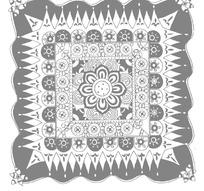 中国古典图案-花朵形和几何形构成的灰色方形图案