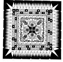 中国古典图案-几何形和花朵形构成的方形图案