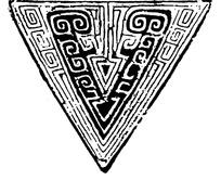 中国古典图案-卷曲纹回纹构成的斑驳的三角形图案