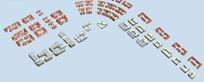 城市规划商城商业街办公楼建筑模型鸟瞰图