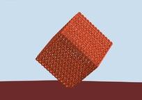 橘色点立式正方形镂空城市雕塑3D效果图