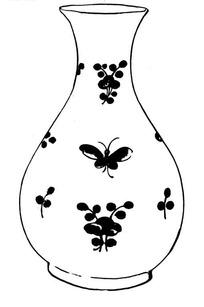 装饰蝴蝶与花纹的花瓶AI矢量文件