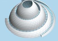 白色旋转式城市雕塑3D效果图