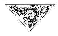 中国古典图案-回头看的凤凰构成的三角形图案