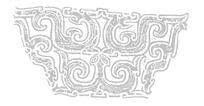 窃曲纹/龙纹对称构成的青铜器纹样图案