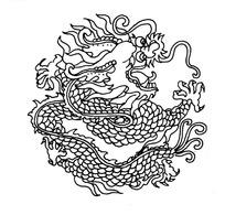 矢量古代中国龙形图案线条