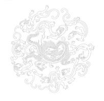 矢量龙形图纹组成的圆形插画