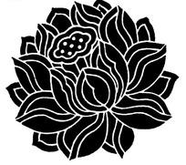 手繪黑色底和白色線條的蓮花