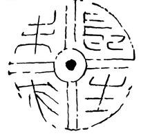 中国古代拓印瓦当图案-扇形字长身未央图案