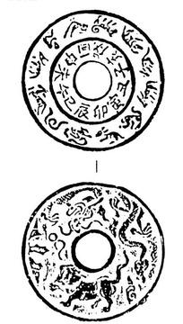 十二生肖图案的圆孔古钱币