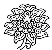 手繪黑色線條的蓮花