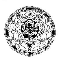 卷叶/云边花瓣牡丹纹构成的圆形图案
