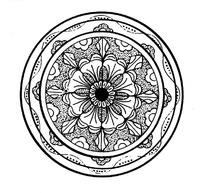 麻点纹连弧纹对称八角花瓣纹构成的圆形图案