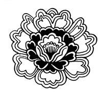 曲线花瓣纹桃心花瓣纹花蕊纹构成的牡丹图案