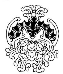 蝙蝠纹牡丹纹上下组合的吉祥图案