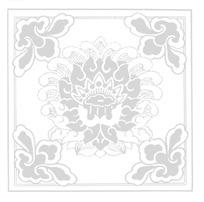 艺术莲花纹和四角花纹构成的框边方图图案