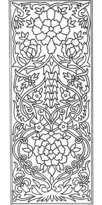 缠枝牡丹花纹/旋绕卷枝/吊串花纹构成的框图