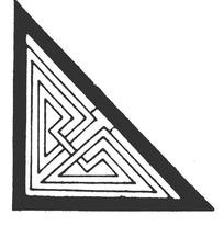 穿叠线条构成的黑边框三角型回纹图案