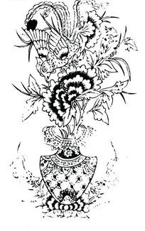 凤凰/牡丹花瓶/动物/鸟构成的吉祥图案