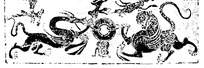 矢量抽象龙虎插画图形