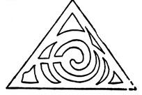 中国古典图案-不规则形构成的三角形图案