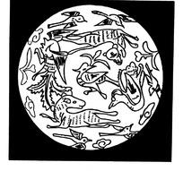 卷云纹鸟纹花叶纹兽纹构成的黑底白圆线描图