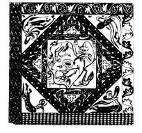 卷草花纹菱形网纹佛纹飞天装饰的布料方图