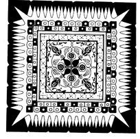 中国古典图案-花朵形和几何形构成的方形图案