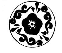 古代古典花朵祥云瓦当图案