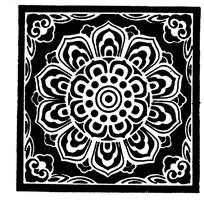 中国传统精美方形荷花底纹