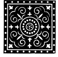 中国古典图案-圆形和卷曲纹以及几何形构成的方形图案