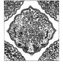 梅花竹子牡丹/连弧边菱形框构成的花角方图