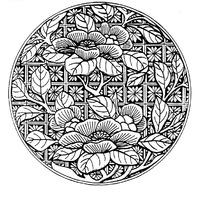 古代黑白花朵圆形矢量素材