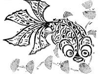 金鱼水草黑白矢量图