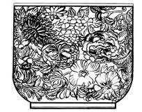 手绘百花盛开图案的杯子黑白矢量图