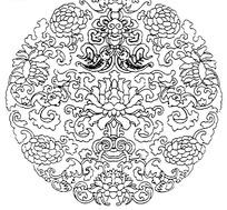 传统圆形双鱼花纹图案矢量素材