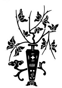 绘有简单图案的花瓶中的花枝与旁边架子