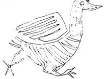 简单几何线条动物画-挥翅膀跑的鹅