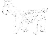 简单几何线条动物画-起步走的羊