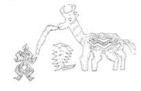 简单几何线条画-人和吃草的牛