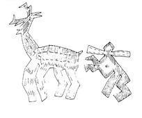 简单几何线条画-人和鹿
