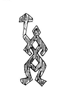 简单几何线条画人物画-身后有箭头的抽象人物