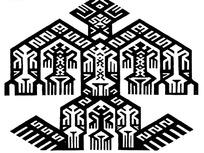 简单几何线条纹构成的人形剪纸黑白图案