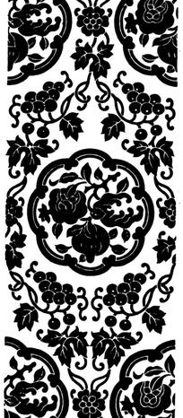 中国传统石榴葡萄图案矢量素材