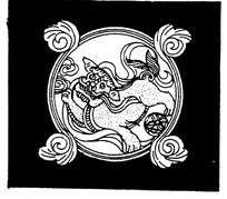 卷叶纹狮子戏球纹环形构成的黑白矢量图
