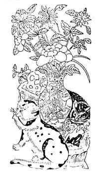 中国古典图案-插在花瓶的花朵和两只猫