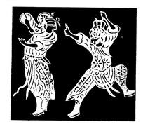 刻纸图案—对打的古代人