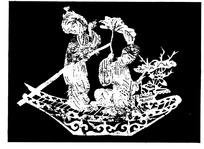 刻纸图案—泛舟的古代书生和小姐
