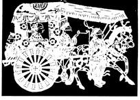 刻纸图案—驾马车的古代人